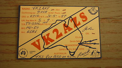 Old Australian Ham Qsl Radio Card, 1987 Sans Souci New South Wales, Vk2Azs