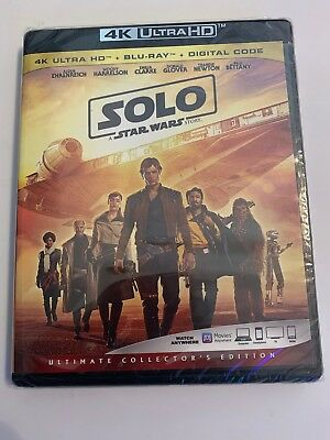 Solo: A Star Wars Story (4k Ultra HD/Blu-ray/Digital HD) Brand New, Sealed