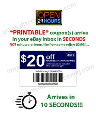 Lowes 20 Off $100 1COUPON-Fast Delivery-InStore/Online ~ Good to 1/31 *WORKS*