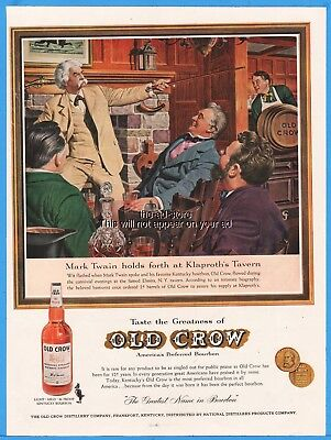 1960 Old Crow Kentucky Bourbon Whiskey Mark Twain Klaproth Tavern Elmira NY Ad