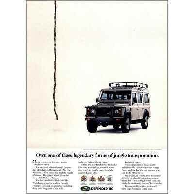 1993 Land Rover: Legendary Forms of Jungle Transportation Vintage Print Ad