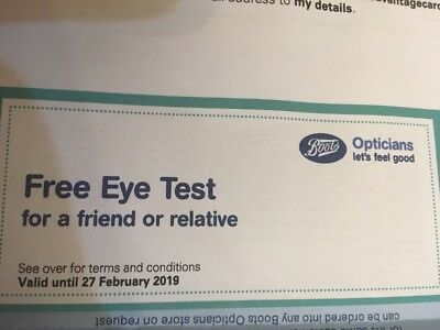 12fe4e619a7 Boots Opticians Eye Test Voucher. Exp. 27 2 19