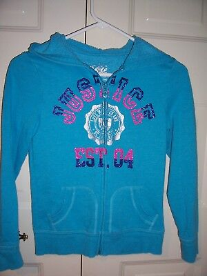 Justice girls blue long sleeve zip up hooded jacket size 10