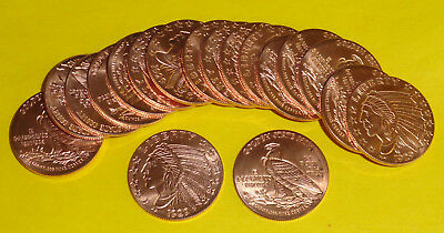 20 New Coins • Incuse Indian Design NO DATE • 1 oz each .999 Fine Copper