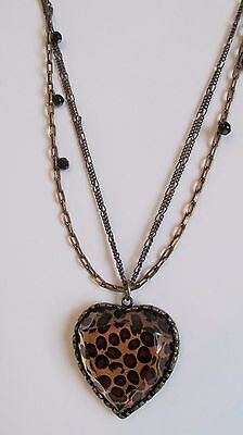 """Betsey Johnson Gold Tone Heart Pendant With Charms/animal Print/15""""s"""