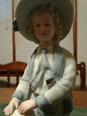 Vintage porcelain figurine boy in colonel with dog setter 9 inch numbered hand