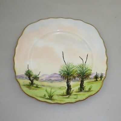 Alva Gooden Hand Painted  Dish Titled Blackboy Trees Perth W. A. Signed Alva