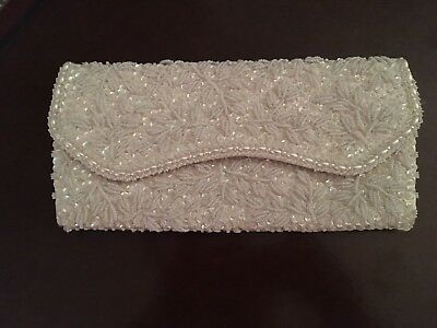 Vintage Hand Made White Satin Beaded & Sequin Evening Clutch