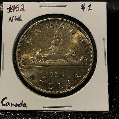 1952 Nwl Canada Silver Dollar Beautiful Ms-60 Grade! Beautiful Coin With Luster