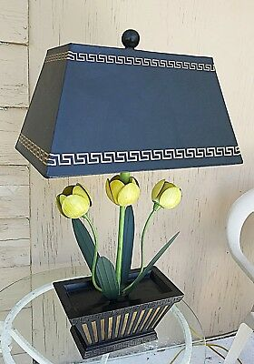 STUNNING DECORATOR LAMP Tole Potted Tulips w Gold Foil Shade & Gold Accents WoW