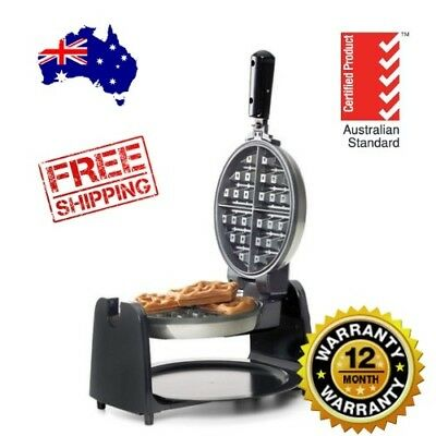 WAFFLE MAKER Silver Black round Belgian electric Iron Rotary Kitchen Baker Home