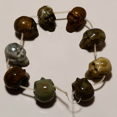 Natural African Agate Skull Heads Serial Beads Strands 9 Pieace Loose Gemstone