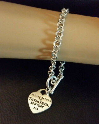 """Sterling Silver Rolo Chain Bracelet Heart Charm Toggle Clasp 7.5"""" 22g Mexico 925"""