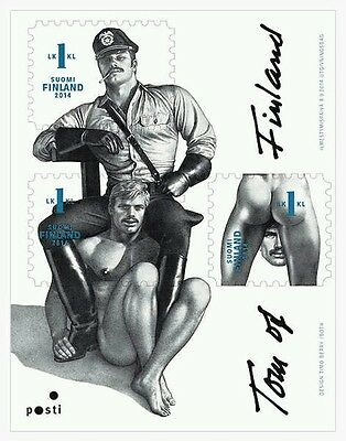 Tom of Finland, Finnish 1st-Class Stamps, sheet of 3, pride gay interest, MNH