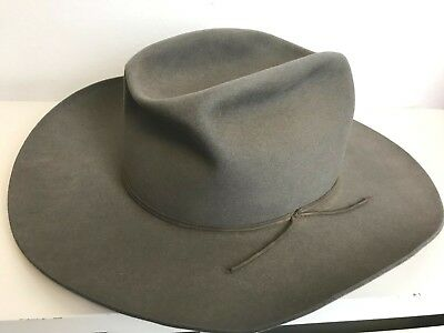 Vintage 1940's Stetson Nutria Quality Gray Western Hat 7 3/8 Ranch Cowboy