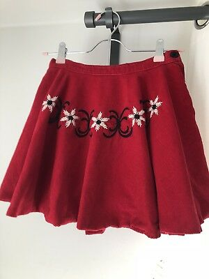 1960s 60s 1970s 70s Vintage Embroidered Daisy Red Corduroy Circle Skirt