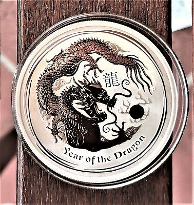 Perth Mint 2012 Lunar Year of the Dragon 1oz Pure Silver Bullion Coin in Capsule
