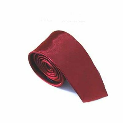 Classic solid color Tie Slim Neckties for Wedding Party Office Gift WineRed