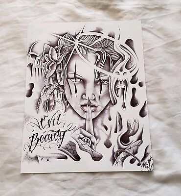 Prison ART Drawing Pen And INK Evil Beauty Theme 'Demon Girl' Black Ink