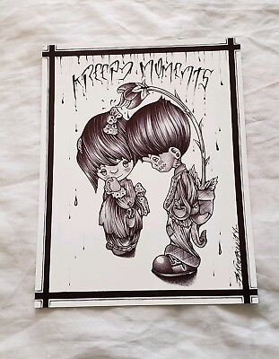 Prison ART Drawing Pen And INK Kreepy Moments, Precious Moments Love boy girl
