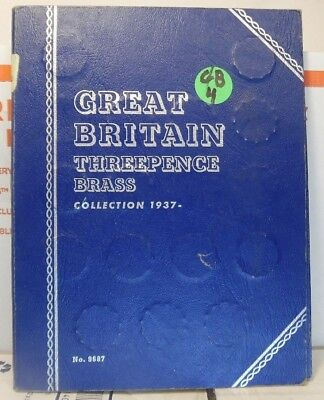 Complete 1937-67 Great Britain Brass 3d (3 Pence) Folder #GB-4