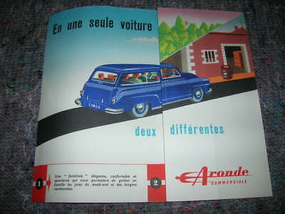 Simca Aronde Commerciale Publicite Officielle Neuf Origine D'epoque