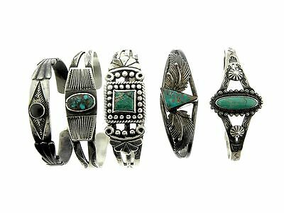 5 Five Old Pawn Sterling Silver Turquoise Single Stone Bracelets Cuffs MIXED LOT