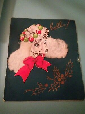 Vintage 1950s Poodle Christmas Card Fluffies USA 3 dimensional used