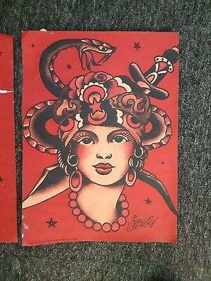 SAILOR JERRY RUM NEW TATTOO FLASH - red poster GIRL