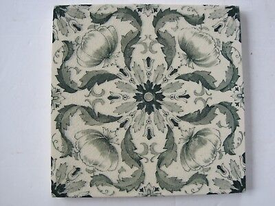Antique Victorian Greens On Cream Transfer Print Aesthetic Tile