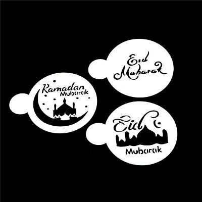 3pcs/set Mosque Eid Mubarak Ramadan Design Coffee Stencils Cake Template Tool LU