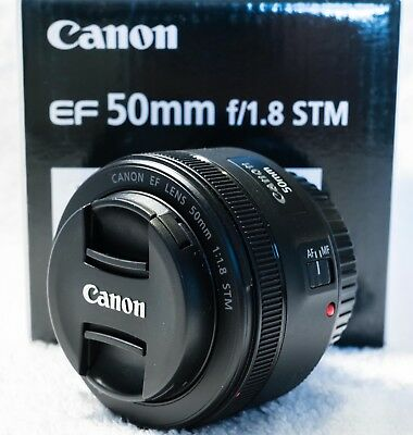 Canon EF 50mm f/1.8 STM - boxed, docs, front & rear caps - mint condition