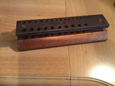 Vintage Wooden/Metal Drill Bit Stand (Imperial Sizes)