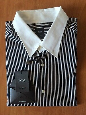 HUGO BOSS Tailored Authentic Men L/S Slim Fit Shirt Size 44/17.5 BRAND NEW