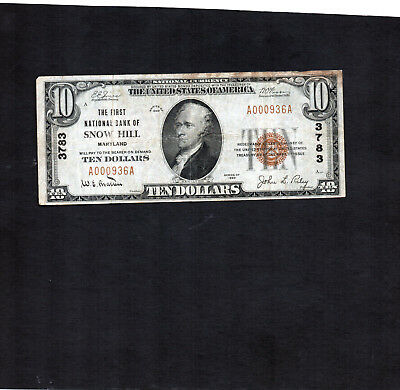 $10.00 National Currency  SNOW HILL MARYLAND  Series 1929