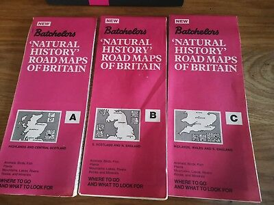 Vintage Batchelors Natural History Road Maps of Britain x 3 abc