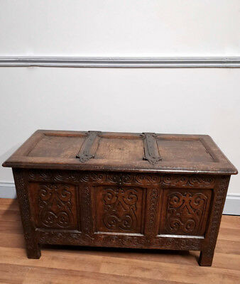 Antique 17th century 18th century carved oak coffer Circa 1680-1720
