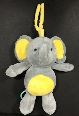 Carter's Gray Yellow Elephant Plush Musical Baby Crib Toy