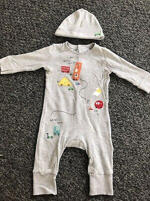 Mothercare Baby Bly 3-6 Months Grey Car Footless Romper Set Babygrow & Hat Cute