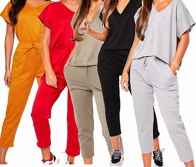 New Women's Ladies V Neck Baggy Top & Bottom Set Lounge Wear Suit Jogging Co-Ord