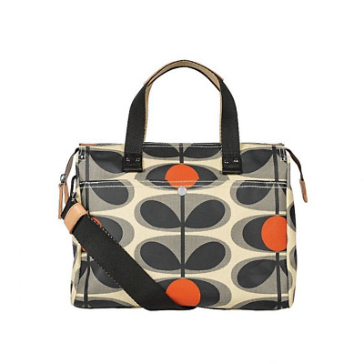 Orla Kiely Granite Grey Flower Oval Small Zip Messenger