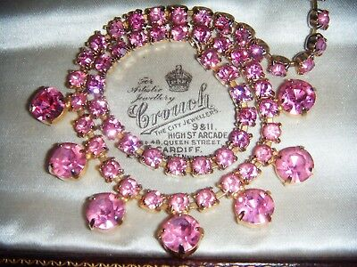 VINTAGE ART DECO Bright Pink CRYSTAL RHINESTONE Riviere Cocktail NECKLACE