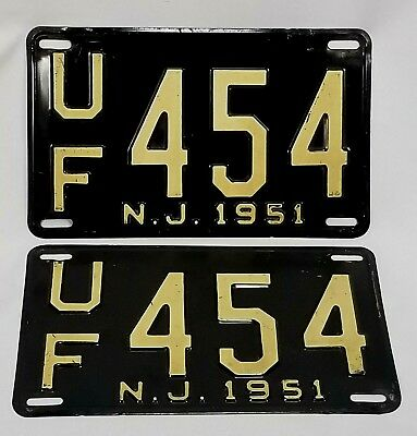 1951 New Jersey License Plate Set, UF-454
