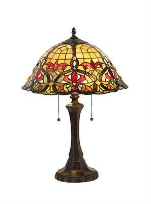 """Stained Glass Chloe Lighting Victorian 2 Light Table Lamp 18"""" Shade Handcrafted"""