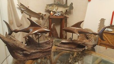 1 Vintage wood carved shark sculpture statue 13 in mounted on driftwood buy one
