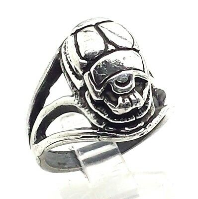 Unique 3D Design Egyptian Scarab Beetle Sterling Silver 925 Ring 12g Sz8.5 A1550