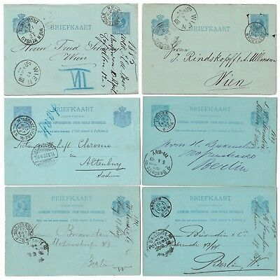 Netherlands 6 postal stationery cards used 1885 to 1898 5c