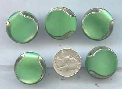 Vintage Sewing Button Lot of 5 Green Art Deco BU24