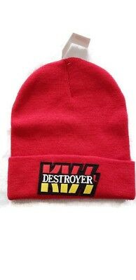 Kiss Destroyer Red Hipster Retro Vintage Rock Logo Licensed Beanie Winter  Hat 4dcb866c7881