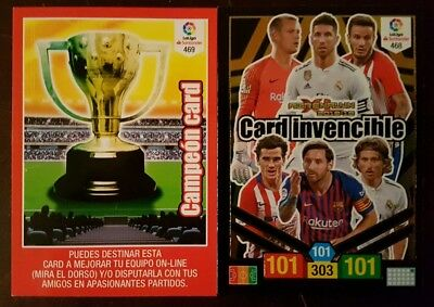CARTA INVENCIBLE y CAMPEON CARD.Panini Adrenalyn XL Liga Santander 2018 2019